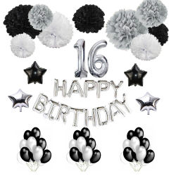 Showsea Boy Party Set Foil Birthday Banner POM POM POMS Decoración Dulce dieciséis adornos de fiesta