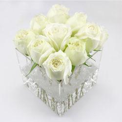 Transparente Blumen-Display Aufbewahrungsbox Rose Display Box Quadratische Vase Luxus zum Geburtstag