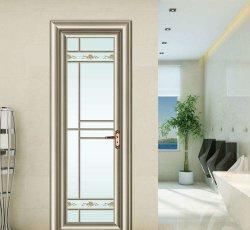 Водонепроницаемый звуконепроницаемых современной деревянной дверная рама перемещена из алюминия цвета внутренних дел стеклянные двери для ванной комнатой туалетом Yg-T014