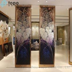 Vidro temperado de chineses profunda talhado à pintura Hotel Partição de parede (PG-TP009)