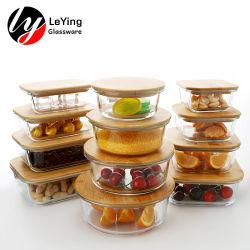 심플한 디자인 CAN 패스 인증 붕규산 유리 음식 용기 점심 대나무 뚜껑이 있는 상자