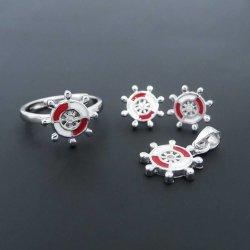 Lindo niños joyas de plata Rodio chapado en rueda de timón de barco timón Conjunto de joyas