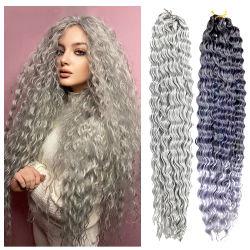 Deep Wave Crochet Hair natuurlijke synthetische Afro krullen Crochet Braid Ombre Long Curly Braiding Wavy Hair Extensions voor Rusland
