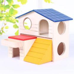 Hamster Double-Storey Gran casa de madera de mascota pequeña casa de madera de color original del nido de madera maciza de Oro de la jaula de construcción Villa oso