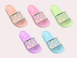 O logotipo personalizado as mulheres de PVC Beach Massagem Sandals deslize chinelos (XYF206-6)