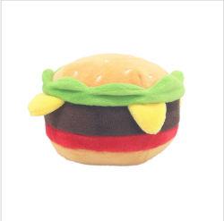 Commerce de gros Hamburger forme alimentaire grinçant chien en peluche jouets pour animaux familiers