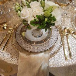 """Couleur Champagne polyester jacquard 132"""" Table ronde de linge de mariage de vêtements à Guanzhou"""