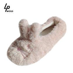 Mujer Zapatos de invierno de patín interior Habitación Sandalia de regulador de las pelusas de la moda caliente caliente Rabit Lindo el algodón zapatillas
