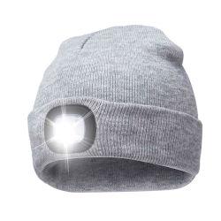 Schutzkappen-Licht-Fackel kundenspezifischer Winter-Hut-thermischer Nachtpfadfinder USB-strickte nachladbare LED Beanie-Hut für Fischen, Arbeit, der Betrieb und wanderte