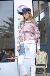 Winter-Frauen-gestreiftes Pullover-Strickjacke-Kleid-süsse runde Stutzen-Strickwaren