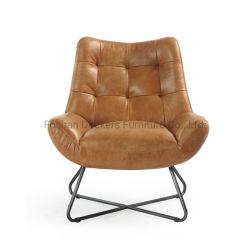 Oficina moderna duradera Living Hotel Sala de espera hogar Metal mobiliario sofá de cuero auténtico acento cátedra de Ocio