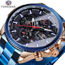 Forsining 157 di marca superiore automatica meccanica dei tre della manopola del calendario dell'acciaio inossidabile orologi degli uomini orologio maschio di lusso