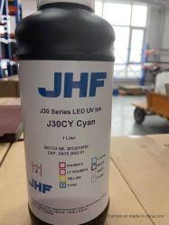 حبر LED UV لطابعة UV مع برامج مكافحة تغيير الاتجاه المتقدمة (أسود، أصفر، أبيض، أحمر، سماوي)