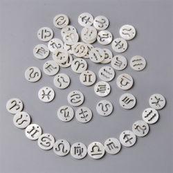 """رأس حشرة بيضاء طبيعية منقوشة سحر اللؤلؤ 12 زودياك كوكبة من الخرز لمعرض """"ديي"""" لمجوهرات """"براسيليت"""" التي تصنع إكسسوارات مجوهرات """"إيارنج"""""""