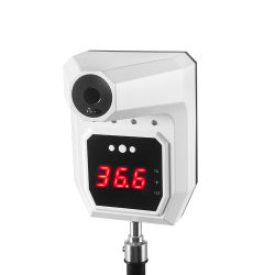 Actualizado K9 Pro no Contacto Pie de escáner térmico del cuerpo en la pared con pantalla LCD indicador de alarma por voz termómetro por infrarrojos