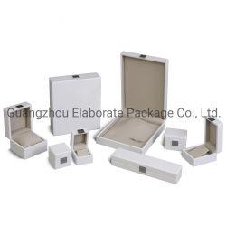 Pintura Lacada Branco Brilhante Jóias Caixa de embalagem de madeira com a placa de metal