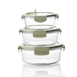 Recipiente per Containter in vetro rotondo alto borosilicato per forno a microonde da pranzo Sicurezza