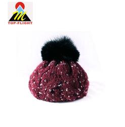 Зимние Custom женщин моды фо мех Beanie POM POM Red Hat