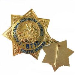 Kundenspezifischer Abzeichen-Metalemblem-ReversPin der Polizei-3D für Förderung