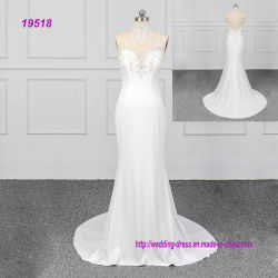 Crêpe Dentelle robe de mariage Halter avec cordon d'usure nuptiale sexy fashion OEM