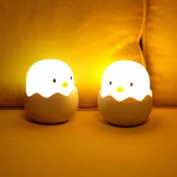 Cartoon huevo de gallina durmiendo la novedad de gel de sílice LED Lámpara Luz de noche