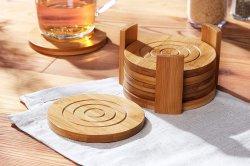 冷たい飲み物と温かい飲み物を楽しめるラウンドカップ木製コースター