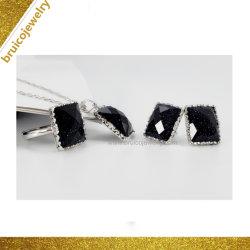 ثبت نمو 925 [سترلينغ سلفر] [9ك] [14ك] [18ك] نوع ذهب حجر كريم مجوهرات مع عقيق سوداء