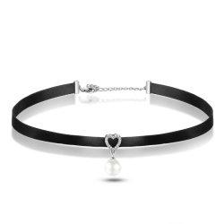 O trançado preto pendente de coração com claras CZ Amaldiçoada Colar para Mulheres 925 Libra Esterlina jóias de prata