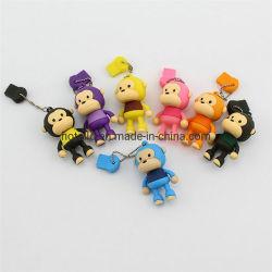 Compartimento de unidade flash USB Monkey Monkey Animal PVC boneca sólida unidade Flash USB Flash Drive USB de personagens de desenhos animados personalizado
