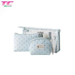 Hot Sale 3 pcs/Set de sacs à maquillage femmes Jelly Sac cosmétique Usine, pochette transparente imperméable de gros sacs à maquillage beauté