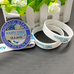 مخصص عالية الجودة الرياضة مطابقة ميدالية معدنية سيليكون سوار / سوار ل هدية ترويجية (WB28-C)