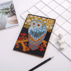 Eule auf einer Diamant-Notizbuch-Diamant-Stickerei-Kunst des Zweig-DIY speziellen geformten