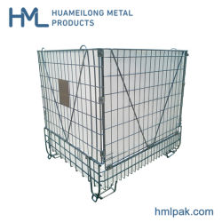 Industrielle galvanisierte zusammenklappbares faltbares stapelbares Metallstahlmaschendraht-Vorratsbehälter für Haustier-Vorformling-Speicher