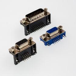 Conector D-SUB de PCB Tipo reta de fileira dupla masculina estampada/pino usinado sem bloquear 9p/15p/25p/37p