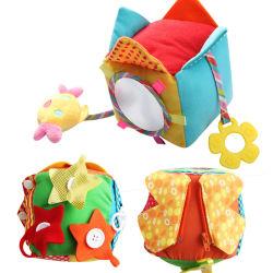 Het zachte Stuk speelgoed van de Kubus van de Activiteit van de Pluche voor Onderwijs het Leren Montessori van Jonge geitjes 1years omhoog Stuk speelgoed met de Klinken van Ritssluitingen, de Knopen van de Breuken van het Kant van Gespen voor de Meisjes van de Jongens van de Baby