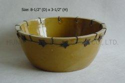 Tazón de cerámica de estilo antiguo con acero estrellas