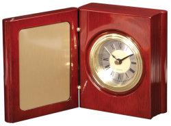 L'artisanat en bois de palissandre finition piano livre squelette de l'horloge Bureau Table Unique Cadeau Cadeau de Mantel Clock