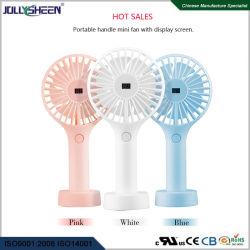 Heiße Verkäufe für Sommer kühlen beweglichen Griff des Ventilator-4W ab und legen Miniventilator, schwanzloser Bewegungsstarke Windgeschwindigkeit mit LCD-Bildschirm ver