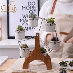 Noria creativo diseño de flor de bambú Pot Stand 6 suculentos titular de la Maceta Jardín Sembradora Decoración