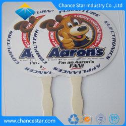 La publicité de marque de papier personnalisé à la main avec manche en bois de ventilateur