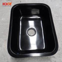 Kkr einzelne künstliche feste schwarze Küche-Steinoberflächenwannen