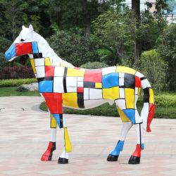 متنزّه زخرفيّة تجريديّ [فيبرغلسّ] نحت اصطناعيّة يدهن حصان حجر السّامة تماثيل