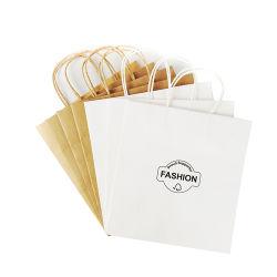 Cheap OEM reutilizables de papel Kraft marrón Embalaje Bolsa de compras al por menor con empuñadura de Brown
