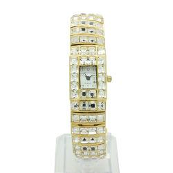 El caso de diamantes con piedras de aleación de acero Inoxidable Relojes reloj de marca de atrás para la Mujer (JY-MTX1)