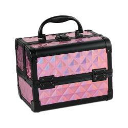 미러를 가진 도매 분홍색 기하학적인 패턴 메이크업 공구 보석함 주문 알루미늄 휴대용 장식용 케이스