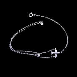 De zilveren Armband van het Ontwerp van de Vliegtuigen van het Zirkoon Duidelijke voor Jonger