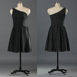Девочек одного короткого плеча Homecoming платья мало черный платье E110