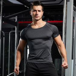 قميص رياضي للرجال بقميص قصير الأكمام سريع الجفاف وقميص قصير الأكمام مخصص لكرة السلة بدلة لياقة بدنية ذات شيرت يسمح بمرور العرق