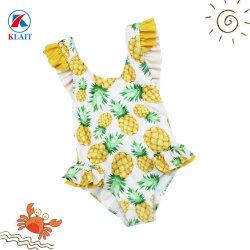 As crianças do bebê personalizado Uvp 50+ Ananás Imprimir um pedaço calções de banho com Bowknot Volta