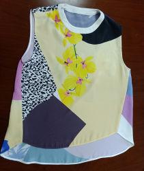 夏の新しい設計正常な印刷された花の絹のノースリーブの女性のブラウス及び上